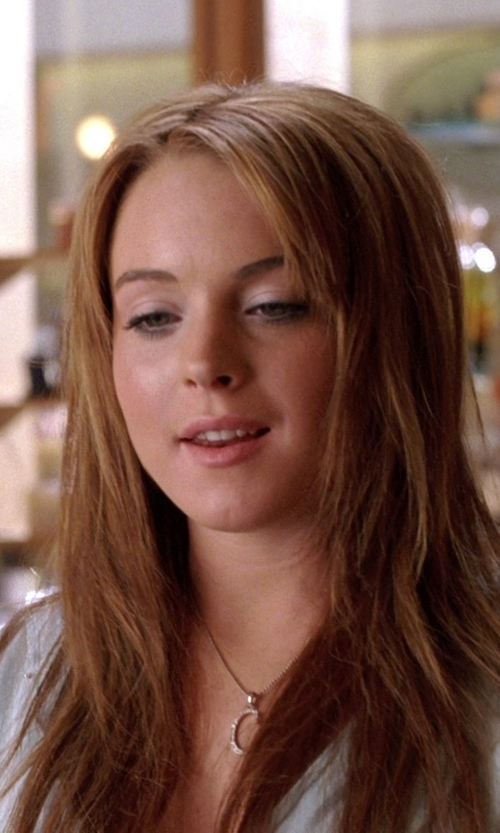 Lindsay Lohan with Kwiat Initial Pendant Necklace in Mean Girls