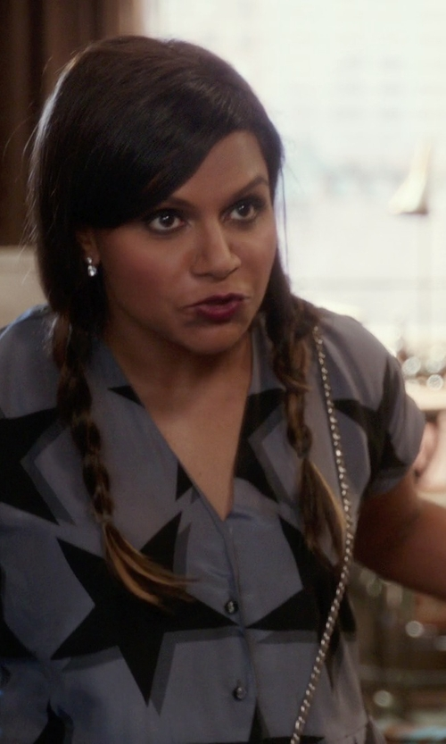 Mindy Kaling with Vivienne Westwood Printed Crepe de Chine Jumpsuit in The Mindy Project