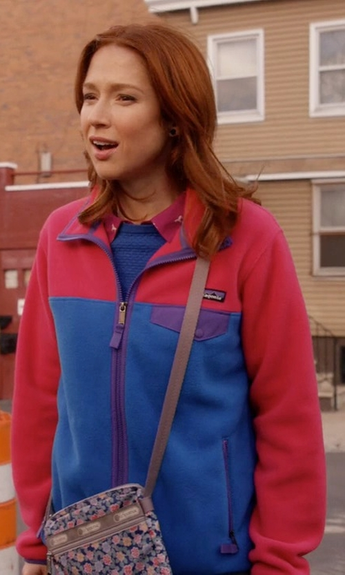 Ellie Kemper with Patagonia Women's Full Zip Snap-T Jacket in Unbreakable Kimmy Schmidt