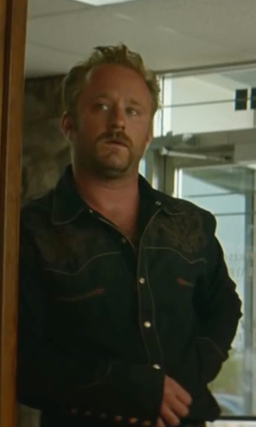 Ben Foster with Levi's Standard Barstow Western Denim Shirt in Hell or High Water