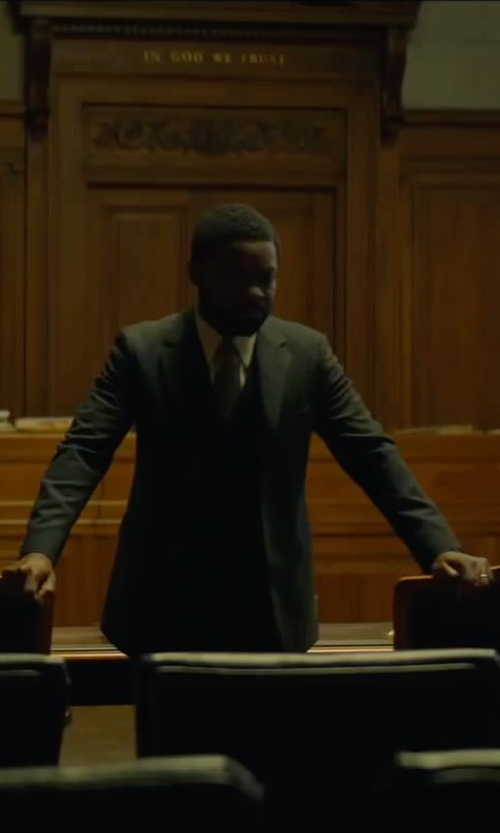 David Oyelowo with Saint Laurent Baby Cat-print Skinny Tie in A Most Violent Year