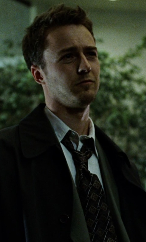 Edward Norton with D&G Vintage Geometric Print Tie in Fight Club