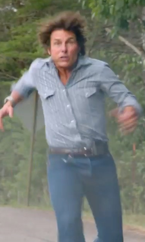Tom Cruise with Tomas Maier Salt-Wash Long-Sleeve Shirt in American Made