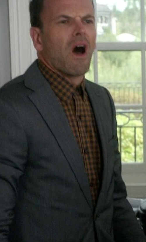 Jonny Lee Miller with Cego Custom Made Check Button Shirt in Elementary