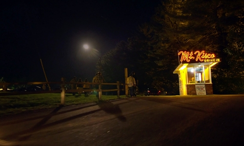 Aaron Paul with Swan Drive In Theatre (Depicted As Mt. Kisco Drive-In) Blue Ridge, Georgia in Need for Speed