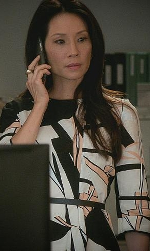 Lucy Liu with Marni Floral Print Asymmetric Dress in Elementary