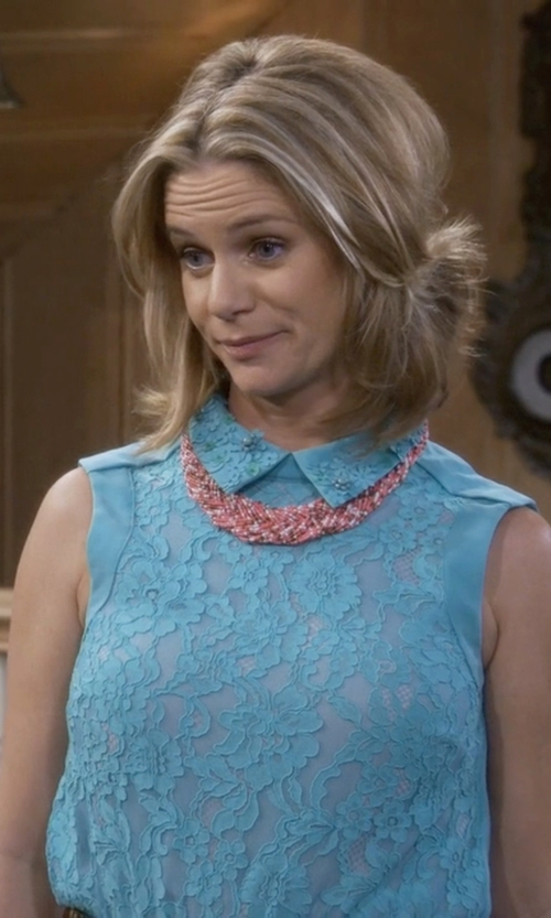Andrea Barber with Allison Brittney Crochet Lace Top in Fuller House