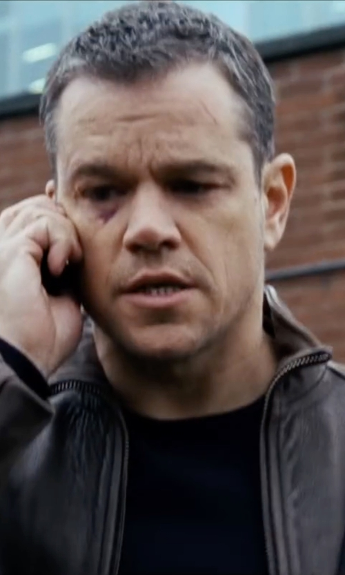 Matt Damon with Moncler Virgin Wool Logo Crewneck Sweater in Jason Bourne
