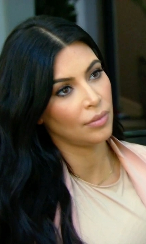 Kim Kardashian West with Juan Carlos Obando Shawl-Lapel Silk-Charmeuse Coat in Keeping Up With The Kardashians