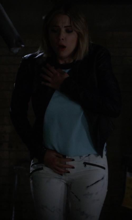 Ashley Benson with Black Orchid Women's Billie Zipper Skinny Jeans in Pretty Little Liars