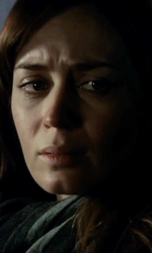 Emily Blunt with Michael Michael Kors Placement Logo Scarf in The Girl on the Train