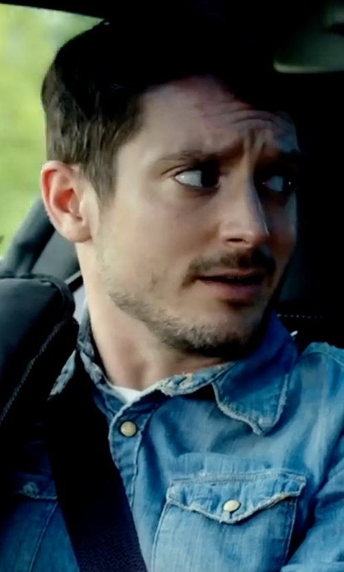 Elijah Wood with Buffalo David Bitton Salar Chambray Long-Sleeve Shirt in Dirk Gently's Holistic Detective Agency
