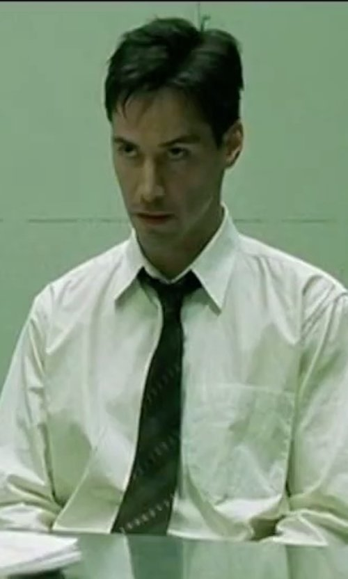 Keanu Reeves with Lauren Ralph Lauren Ascot Silk Tie in The Matrix