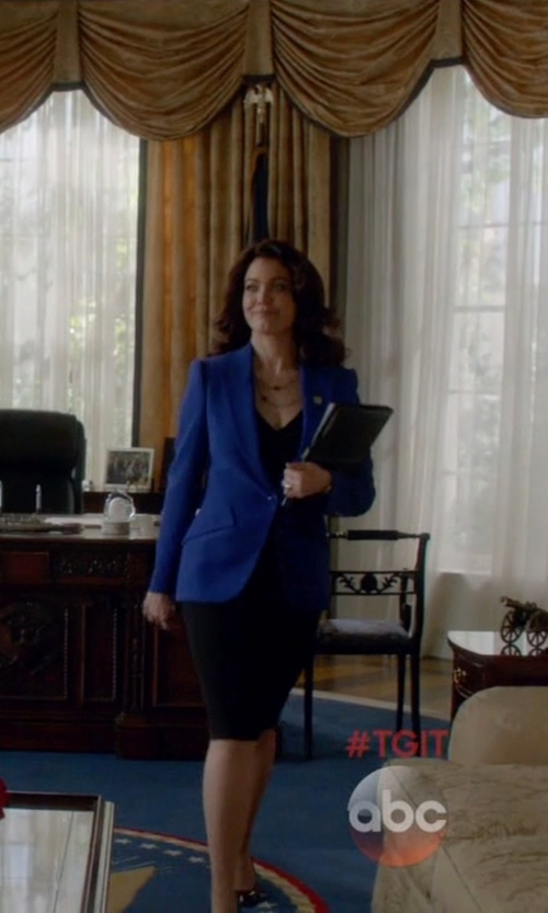 Bellamy Young with Escada V-Neck Sheath Dress in Scandal
