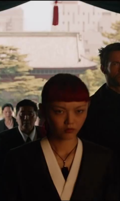 Rila Fukushima with Isis Mussenden (Costume Designer) Custom Made Short Black Kimono in The Wolverine