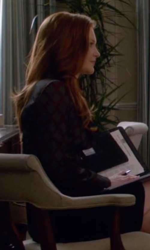 Darby Stanchfield with Emporio Armani Geometric Design Jacquard Single-Breasted Jacket in Scandal