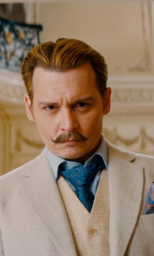 Johnny Depp with Charvet Paisley Silk Tie in Mortdecai