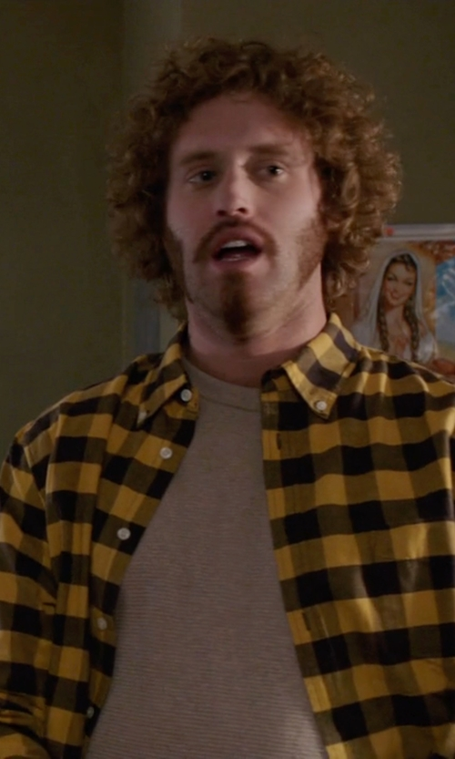 T.J. Miller with H&M Checked Cotton Shirt in Silicon Valley