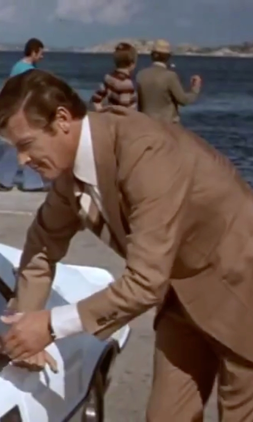 Roger Moore with Nardelli Notch Lapel Suits in The Spy Who Loved Me