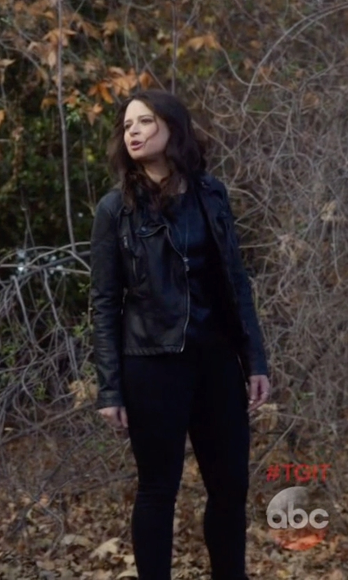 Katie Lowes with Free People Hooded Faux Leather Moto Jacket in Scandal