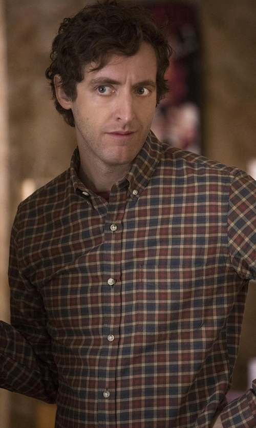 Thomas Middleditch with A.P.C. Checked Cotton And Linen-Blend Shirt in Silicon Valley