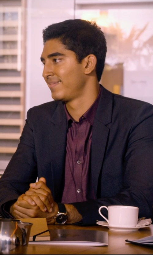 Dev Patel with Calvin Klein Two Metal Button Stretch Wool Blazer in The Second Best Exotic Marigold Hotel