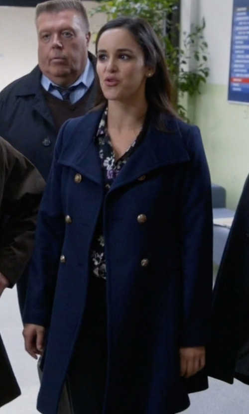 Melissa Fumero with Michael Michael Kors Double-Breasted Pea Coat in Brooklyn Nine-Nine