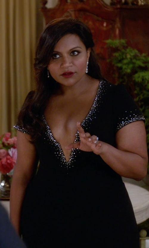 Mindy Kaling with Salvador Perez (Costume Desinger) Custom Made V-Neck Crystal Embellished Dress in The Mindy Project