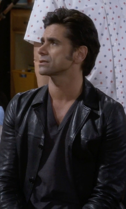 John Stamos with Leather World by Lucky Leather Lambskin Jacket in Fuller House