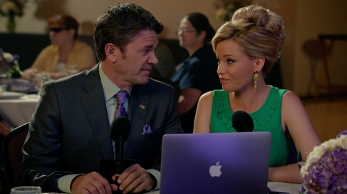Elizabeth Banks with Antonio Melani Dress in Pitch Perfect 2
