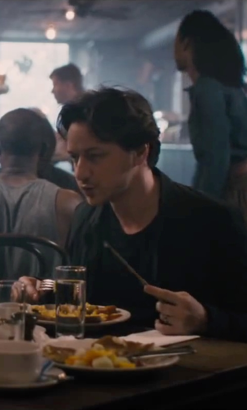 James McAvoy with ATM Anthony Thomas Melillo Classic T-Shirt in The Disappearance of Eleanor Rigby