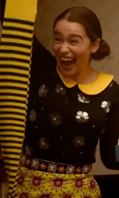 Emilia Clarke with House of Holland Dolly Yellow Skirt in Me Before You
