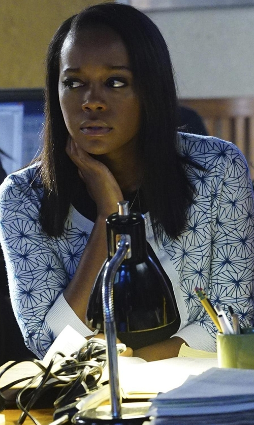 Aja Naomi King with Halogen Three Quarter Sleeve Cardigan in How To Get Away With Murder