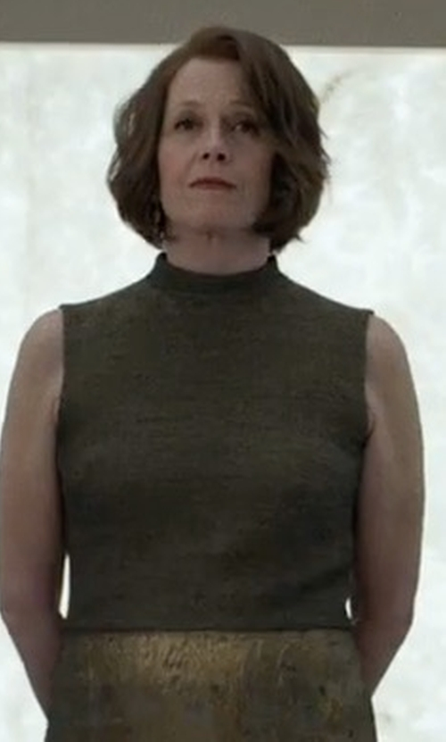 Sigourney Weaver with Majestic Paris for Neiman Marcus Soft Touch Sleeveless Stretch Turtleneck Top in Marvel's The Defenders