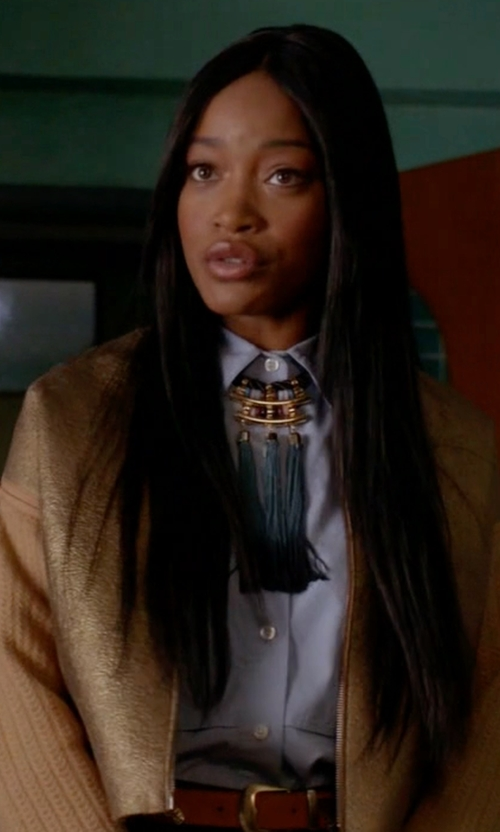 Keke Palmer with JM Collection Laser-Cutout Jacket in Scream Queens