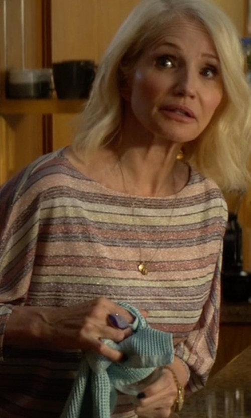 Ellen Barkin with Frame Denim Le Cropped Long-Sleeve Striped Top in Animal Kingdom