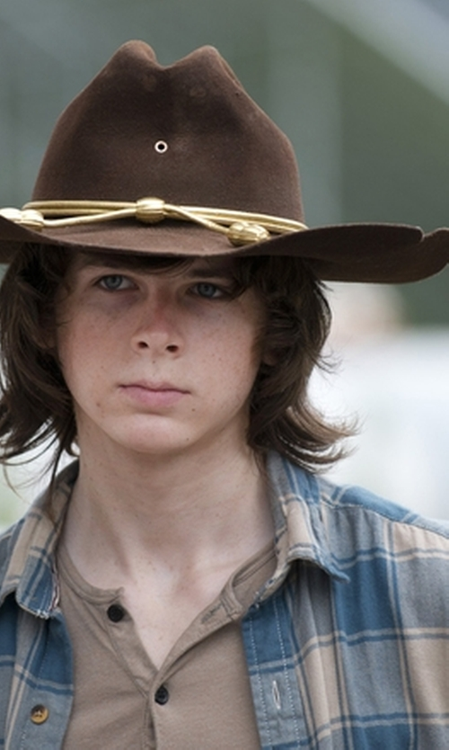 Chandler Riggs with J.Crew  Checked Linen Shirt  in The Walking Dead