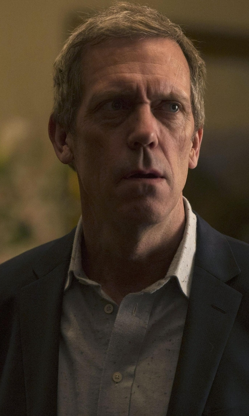 Hugh Laurie with Boss 'Robbie' Slim Fit Print Sport Shirt in The Night Manager