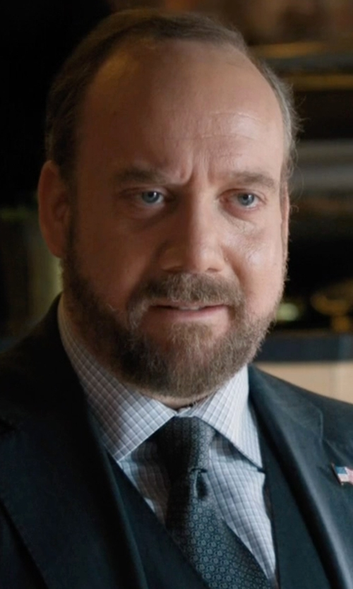 Paul Giamatti with David Donahue Trim Fit Check Dress Shirt in Billions