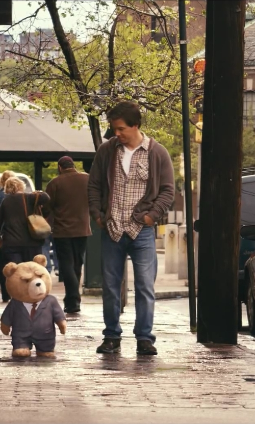 Mark Wahlberg with Converse Long-sleeve Blue And Grey Plaid Shirt in Ted