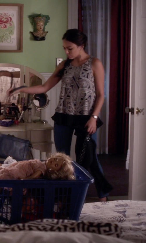 Janel Parrish with Mossimo Double Layer Flounce Blouse in Pretty Little Liars