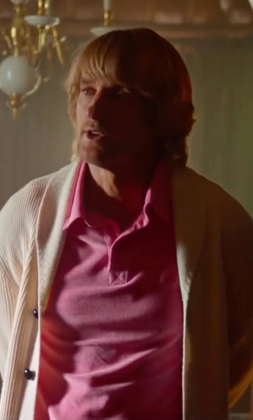 Owen Wilson with Peter Millar Fran Jacquard Cotton Lisle Polo Shirt in Bastards