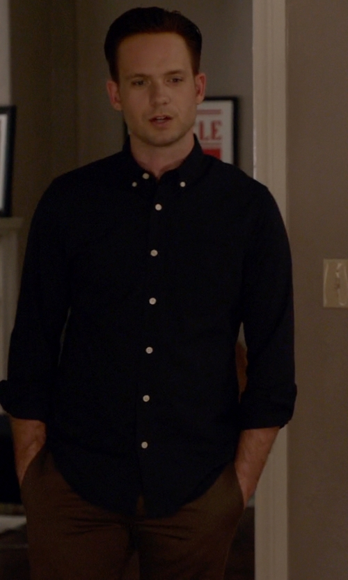 Patrick J. Adams with Steven Alan Long Sleeve Jersey Shirt in Suits