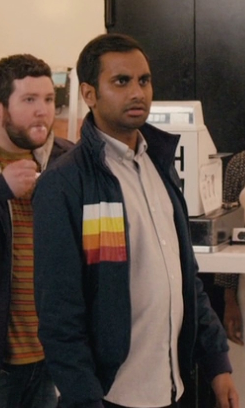 Aziz Ansari with Ellesse Track Jacket With Cord Stripes in Master of None