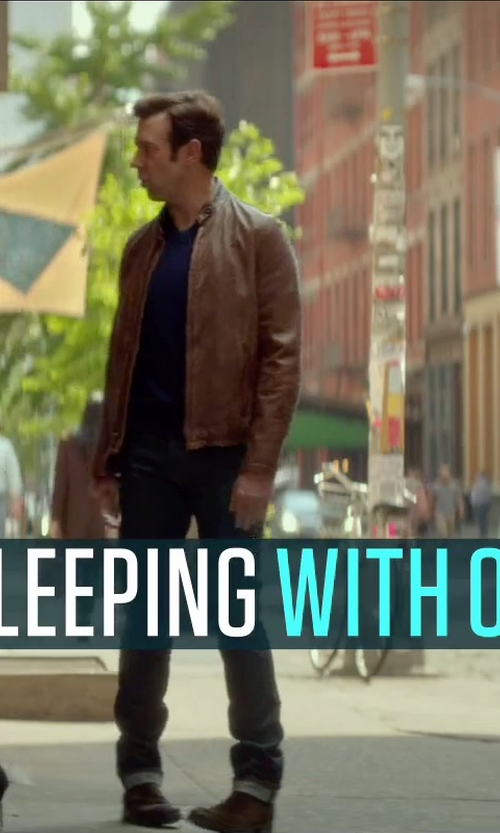 Jason Sudeikis with Cole Haan Men's Leather Moto Jacket in Sleeping with Other People