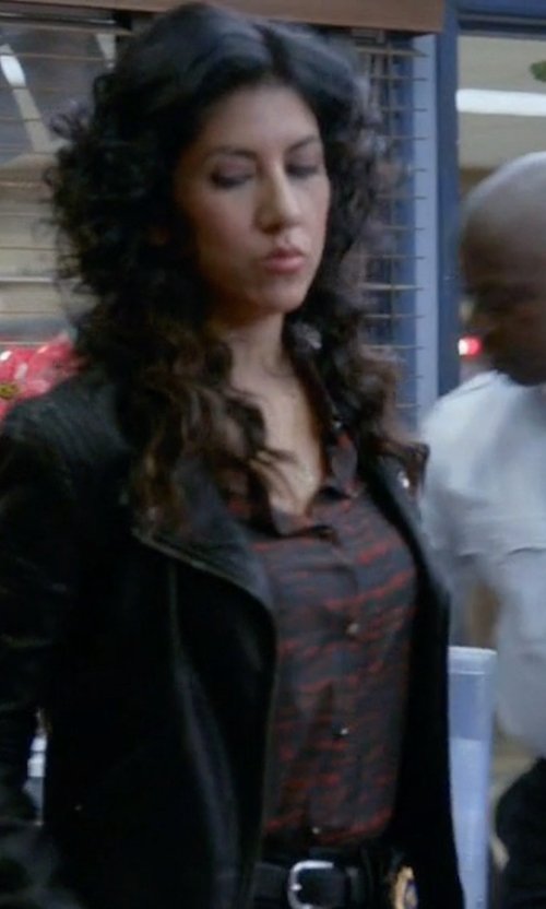 Stephanie Beatriz with Topshop Chevron Stripe Shirt in Brooklyn Nine-Nine