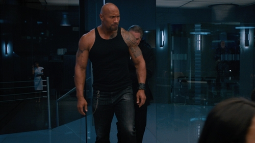 Dwayne Johnson with AG Tellis Slim Fit Jeans in The Fate of the Furious