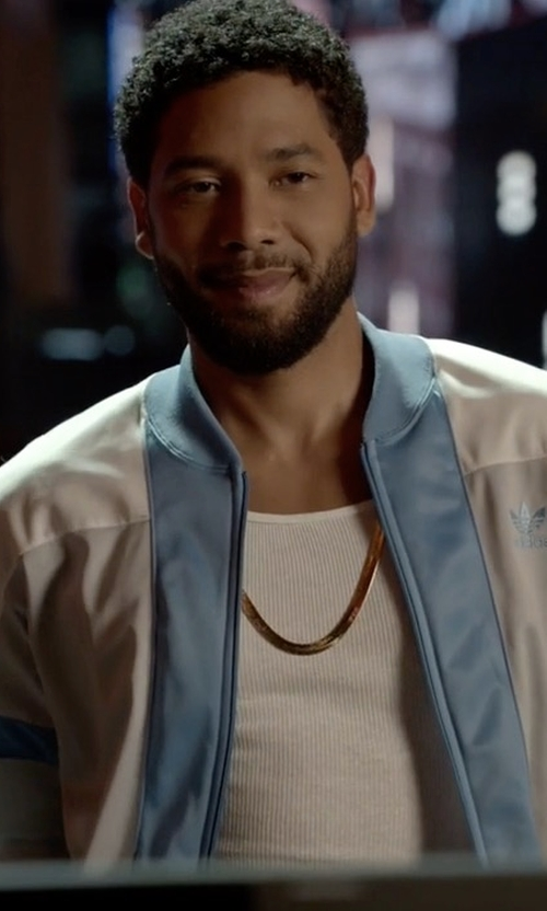 Jussie Smollett with Adidas Chelsea FC 3 Stripe Track Jacket in Empire
