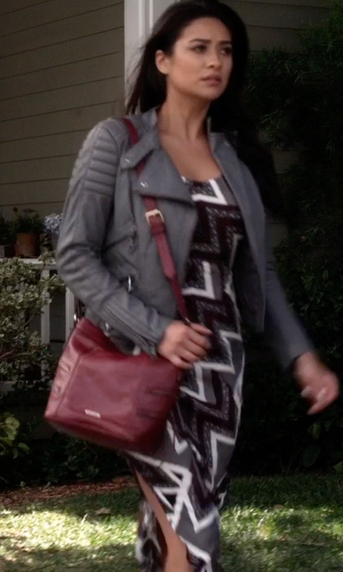 Shay Mitchell with Free People Serves You Right Printed Side-Slit Maxi Dress in Pretty Little Liars