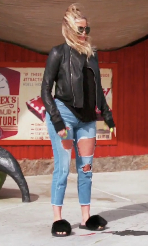 Khloe Kardashian with Givenchy Mink-Fur Flat Slide Sandals in Keeping Up With The Kardashians